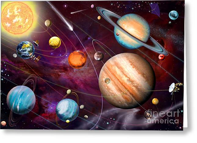Neptune Greeting Cards - Solar System 2 Greeting Card by Garry Walton