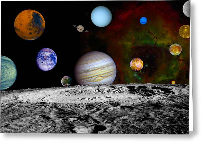 Gazer Greeting Cards - Solar System Collage  Greeting Card by The  Vault - Jennifer Rondinelli Reilly