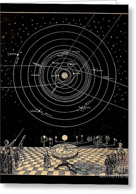 Chessmen Drawings Greeting Cards - Solar System Diagram circa 1855 Greeting Card by Asa Smith