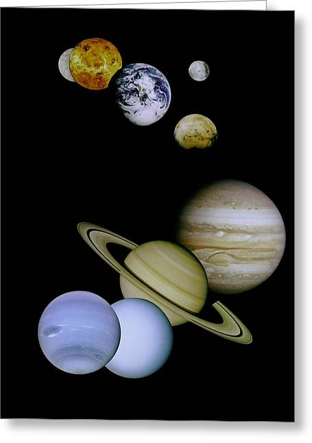 Galileo Greeting Cards - Solar System Montage Greeting Card by Movie Poster Prints