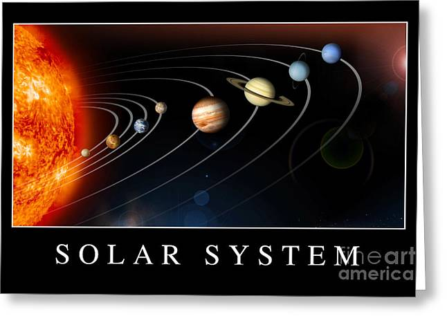 Rotation Greeting Cards - Solar System Poster Greeting Card by Stocktrek Images