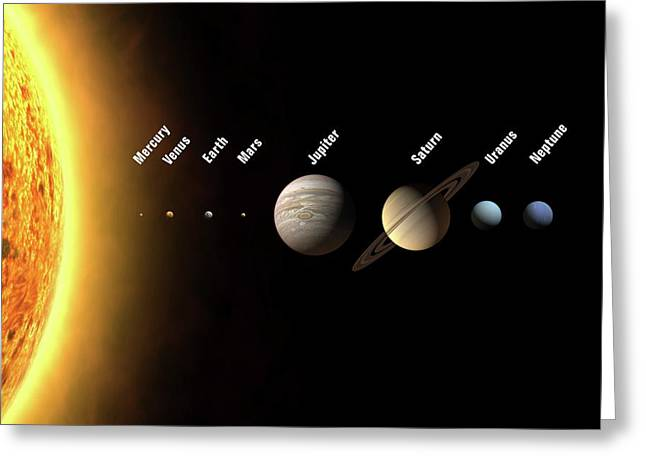 Solar System's Planets Greeting Card by Science Photo Library
