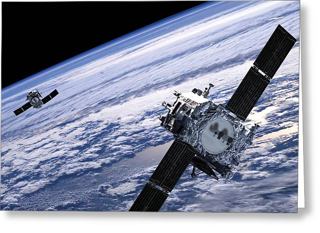 Elevated Greeting Cards - Solar Terrestrial Relations Observatory satellites Greeting Card by Anonymous