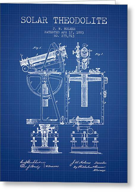 Recently Sold -  - Surveying Greeting Cards - Solar Theodolite Patent from 1883 - Blueprint Greeting Card by Aged Pixel