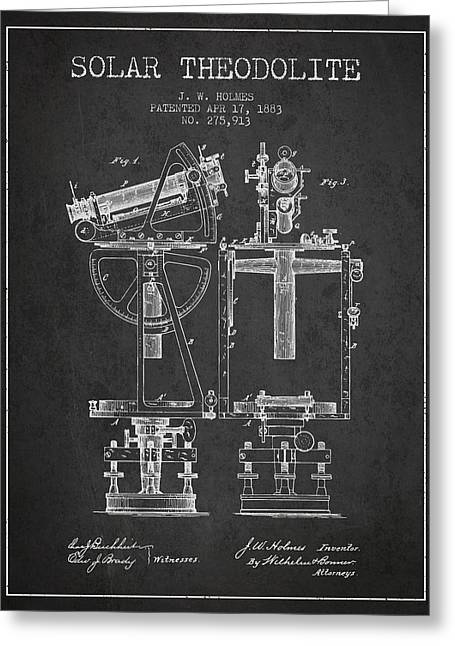Recently Sold -  - Surveying Greeting Cards - Solar Theodolite Patent from 1883 - Charcoal Greeting Card by Aged Pixel