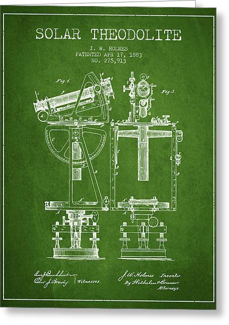 Recently Sold -  - Surveying Greeting Cards - Solar Theodolite Patent from 1883 - Green Greeting Card by Aged Pixel