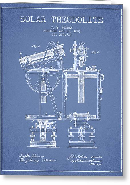 Recently Sold -  - Surveying Greeting Cards - Solar Theodolite Patent from 1883 - Light Blue Greeting Card by Aged Pixel