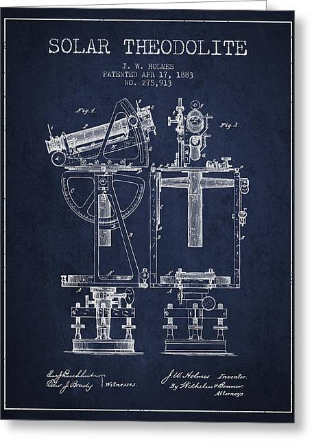 Solar Theodolite Patent From 1883 - Navy Blue Greeting Card by Aged Pixel