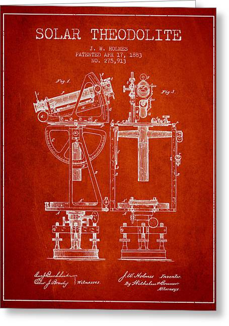 Surveying Greeting Cards - Solar Theodolite Patent from 1883 - Red Greeting Card by Aged Pixel