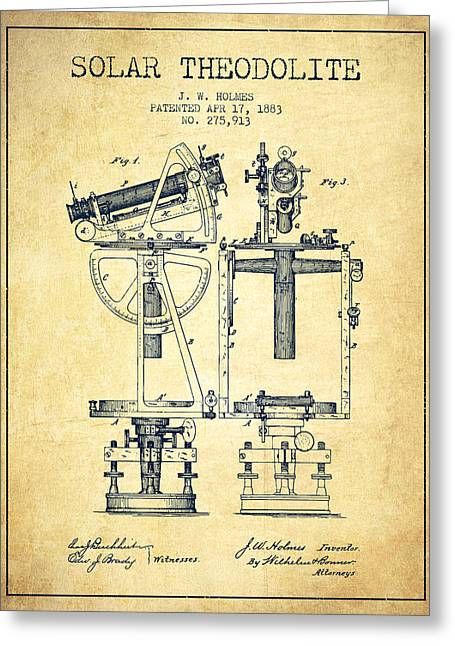 Surveying Greeting Cards - Solar Theodolite Patent from 1883 - Vintage Greeting Card by Aged Pixel