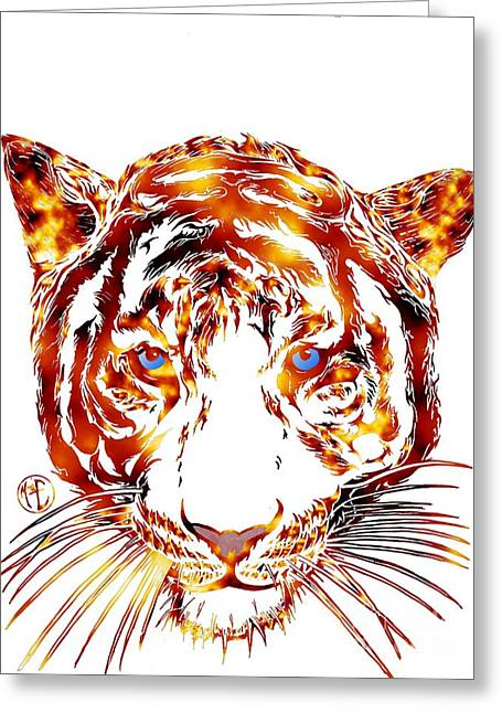 Justin Moore Digital Art Greeting Cards - Solar Tiger Greeting Card by Justin Moore