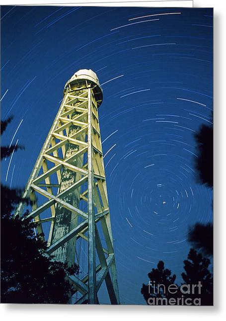 Mount Wilson Greeting Cards - Solar Tower With Stars Greeting Card by Babak Tafreshi