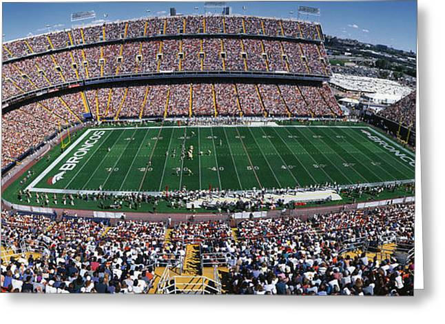 Human Being Photographs Greeting Cards - Sold Out Crowd At Mile High Stadium Greeting Card by Panoramic Images
