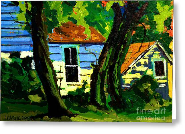 Cole Paintings Greeting Cards - SOLD UNDER the SUGAR MAPLES  Greeting Card by Charlie Spear