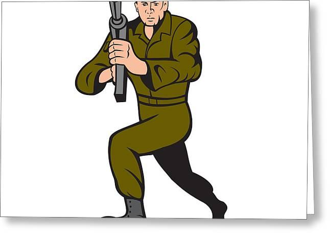 Sub Machine Gun Greeting Cards - Soldier Aiming Sub-Machine Gun Cartoon Greeting Card by Aloysius Patrimonio