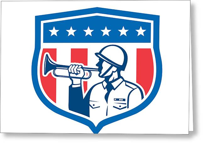 Stripes. Blowing Greeting Cards - Soldier Blowing Bugle Crest Stars Retro Greeting Card by Aloysius Patrimonio