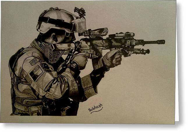 Terrorist Drawings Greeting Cards - Soldier Colt Situation Afghanistan Greeting Card by Subhash Mathew