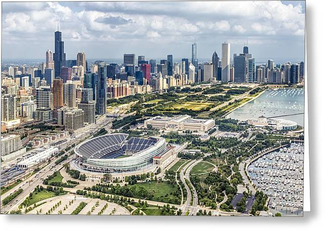 Family Room Photographs Greeting Cards - Soldier Field and Chicago Skyline Greeting Card by Adam Romanowicz