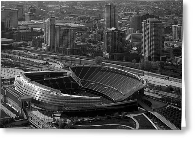 Thomas Woolworth Greeting Cards - Soldier Field Chicago Sports 05 Black and White Greeting Card by Thomas Woolworth