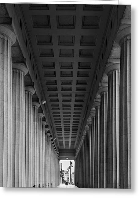 Historic Architecture Photographs Greeting Cards - Soldier Field Colonnade Chicago B W B W Greeting Card by Steve Gadomski