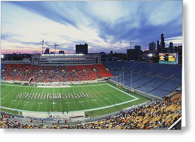 Sports Fields Greeting Cards - Soldier Field Football, Chicago Greeting Card by Panoramic Images
