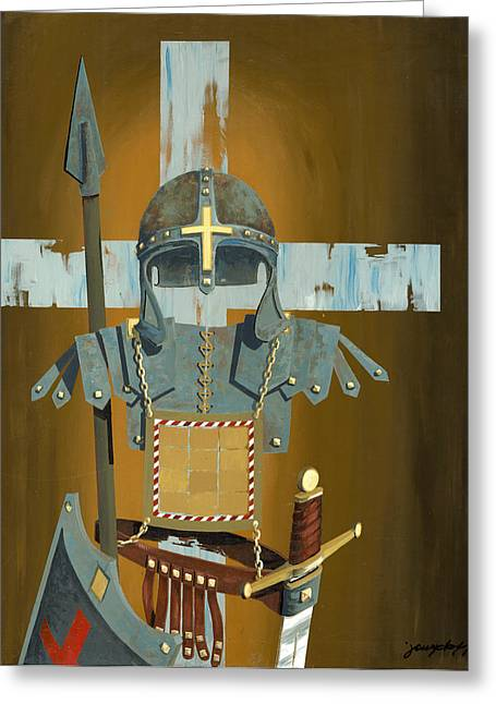 Soldiers Paintings Greeting Cards - Soldier for the Cross Greeting Card by John Wyckoff