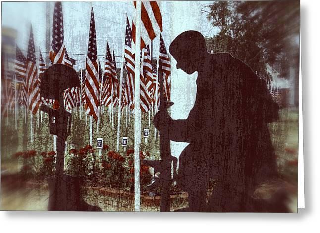 Bayonet Greeting Cards - Soldier Memorial - Last Roll Call Greeting Card by Ella Kaye Dickey