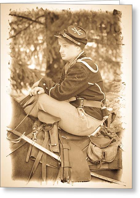 Confederate Flag Greeting Cards - Soldier on Horse Greeting Card by Steve McKinzie