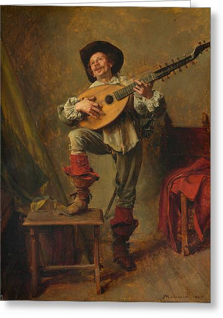 Soldier Playing The Theorbo Greeting Card by Ernest Meissonier