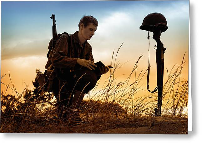 Straps Greeting Cards - Soldier Reading Scriptures at the Grave Site of American Hero Greeting Card by Kriss Russell