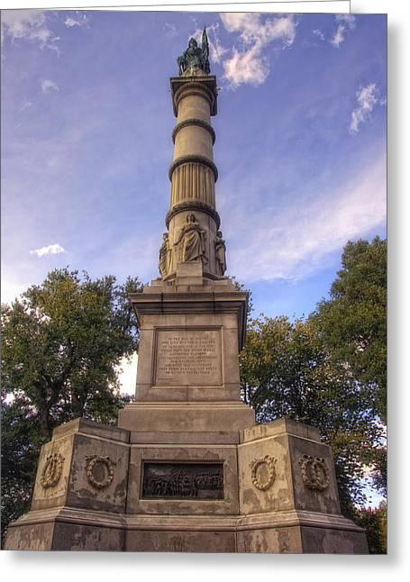 Civil War Site Photographs Greeting Cards - Soldiers and Sailors Monument - Boston Greeting Card by Joann Vitali