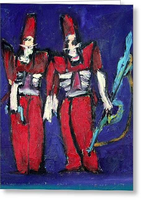 Gun Fighter Greeting Cards - SOLDIERS and TWINS Greeting Card by Fabrizio Cassetta