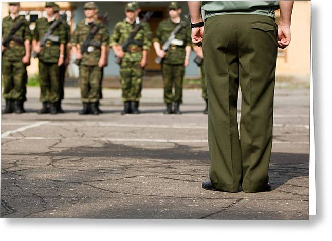 Brigade Greeting Cards - Soldiers before parade Greeting Card by Nikita Buida