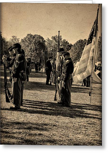 Soldiers In Formation Greeting Card by Bill Cannon