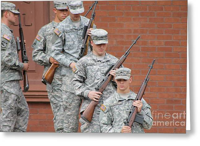 Asu Greeting Cards - Soldiers leaving ceremony Greeting Card by Pamela Walrath