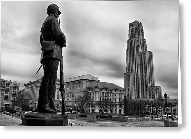 Cathedral Of Learning Greeting Cards - Soldiers Memorial and Cathedral of Learning Greeting Card by Thomas R Fletcher