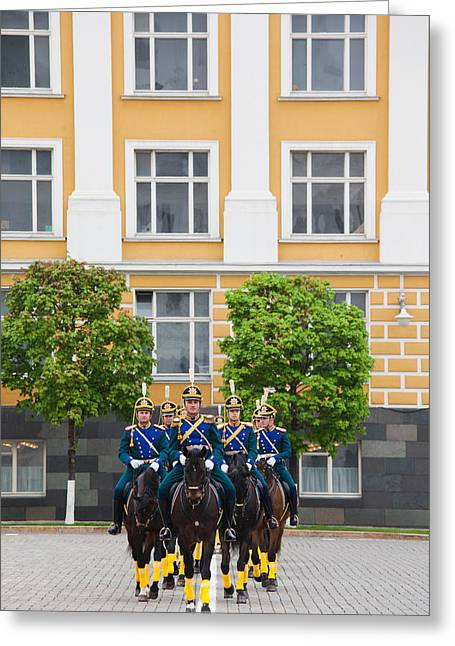 Presidential Photographs Greeting Cards - Soldiers Of The Presidential Regimental Greeting Card by Panoramic Images