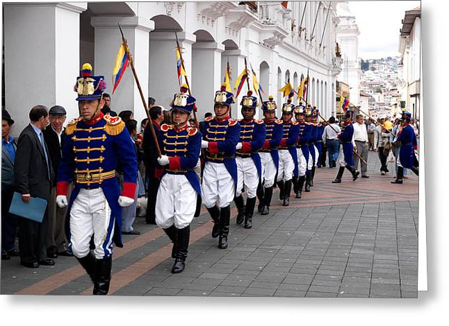 In-city Greeting Cards - Soldiers Parade During Changing Greeting Card by Panoramic Images