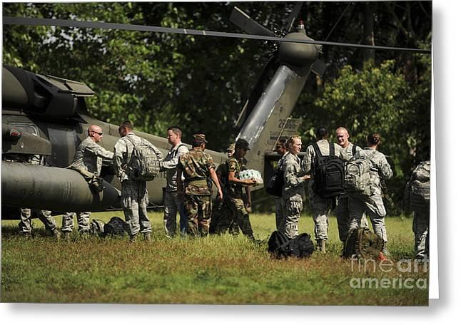 El Salvador Greeting Cards - Soldiers Unload Medical Supplies, Food Greeting Card by Stocktrek Images