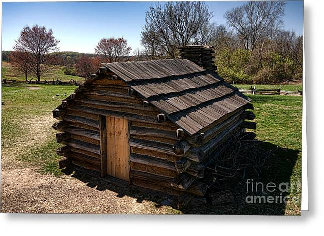 Pa Greeting Cards - Soldiers Wood Cabin  Greeting Card by Olivier Le Queinec