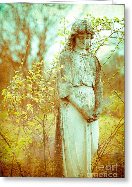 Condolences Greeting Cards - Solemn Cemetery Statue Greeting Card by Sonja Quintero