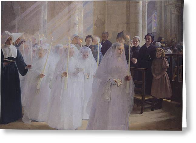 Beam Of Light Greeting Cards - Solemn Communion Greeting Card by Jules Triquet