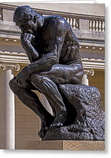 Thinker Greeting Cards - Solemn Thinker Greeting Card by Garry Gay