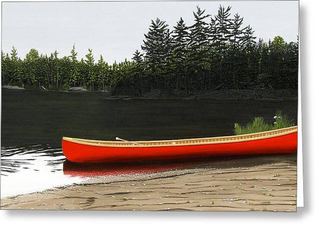 Canoe Paintings Greeting Cards - Solemnly Greeting Card by Kenneth M  Kirsch