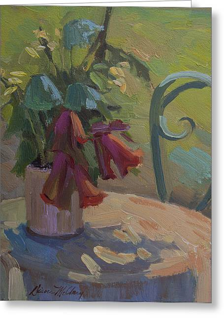 Table And Chairs Paintings Greeting Cards - Soliel Provence Greeting Card by Diane McClary