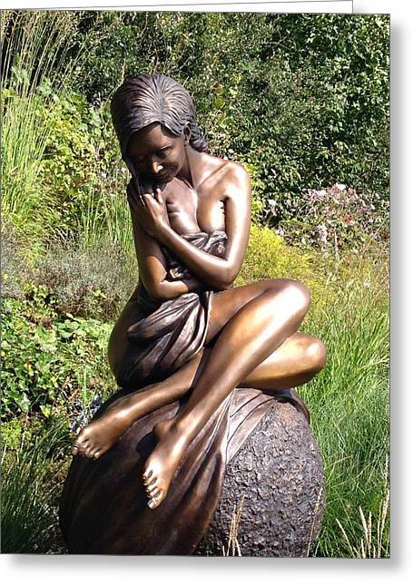 Female Nude Sculptures Greeting Cards - Solitaire Life Size Bronze Sculpture Greeting Card by J Anne Butler
