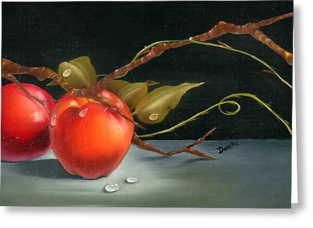 Cornucopia Paintings Greeting Cards - Solitary Apples Greeting Card by Doreta Y Boyd