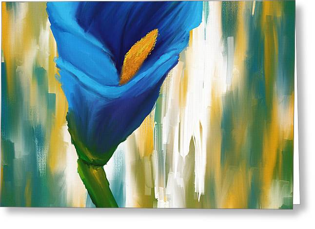 Calla Lily Greeting Cards - Solitary Blue Greeting Card by Lourry Legarde