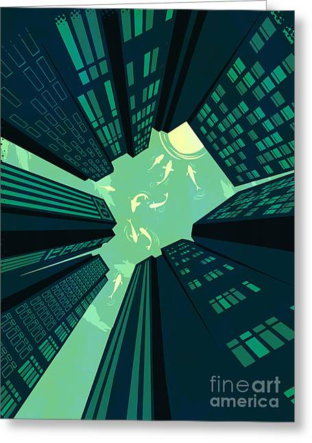City Buildings Digital Greeting Cards - Solitary Dream Greeting Card by Budi Kwan