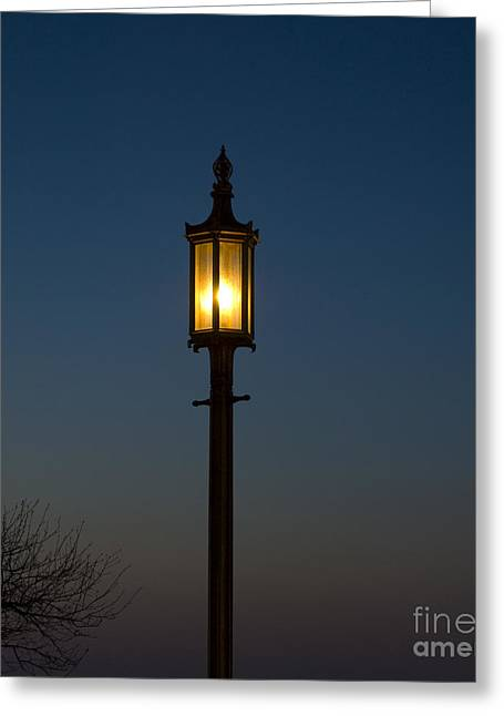 Solitary Gas Light Greeting Card by Tim Mulina